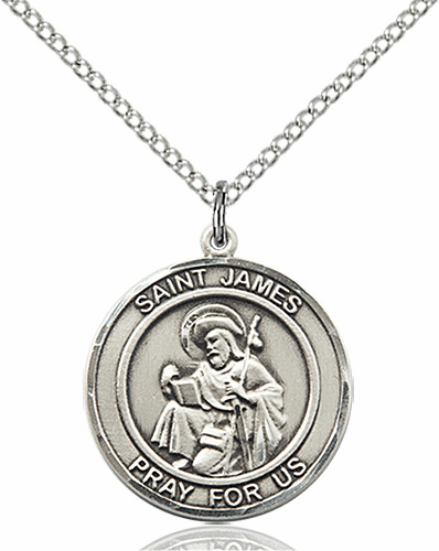St James the Greater Medium Patron Saint Sterling Silver Medal by Bliss