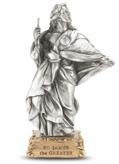 St James The Greater Pewter Statue on Gold Tone Base by Hirten
