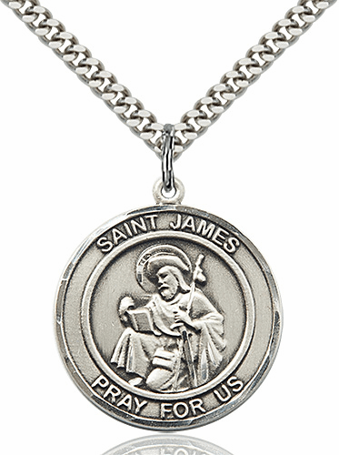 St James the Greater Round Patron Saint Medal Necklace by Bliss
