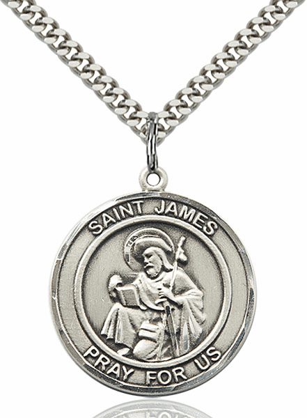 St James the Greater Silver-filled Round Patron Saint Medal Necklace by Bliss