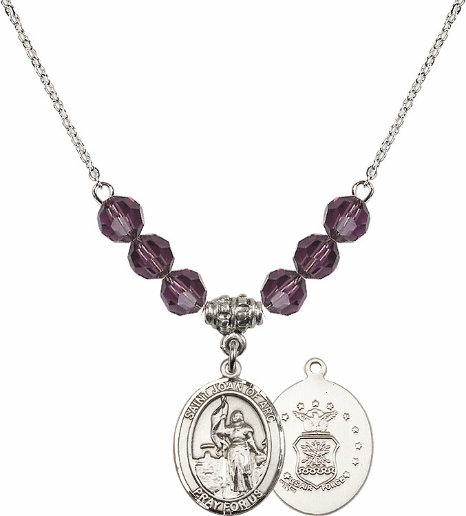 St Joan of Air Force Amethyst Swarovski Necklace by Bliss Mfg