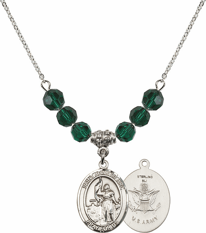 St Joan of Air Force Emerald Swarovski Necklace by Bliss Mfg