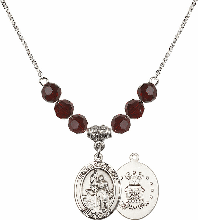 St Joan of Air Force Garnet Swarovski Necklace by Bliss Mfg