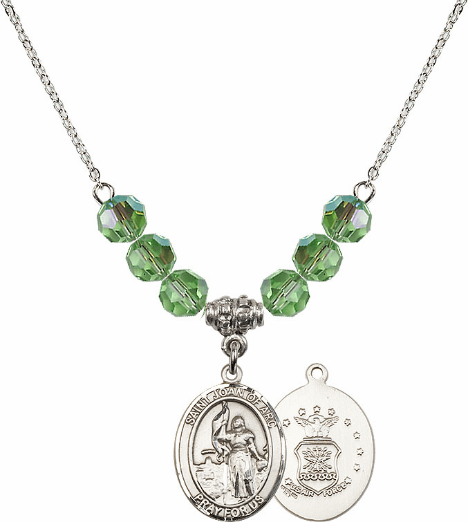 St Joan of Air Force Peridot Swarovski Necklace by Bliss Mfg