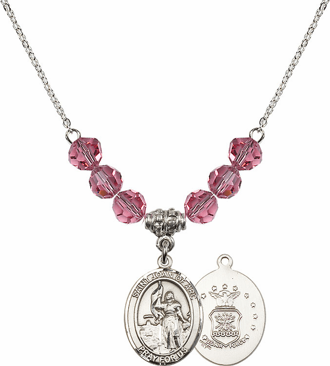 St Joan of Air Force Rose Swarovski Necklace by Bliss Mfg