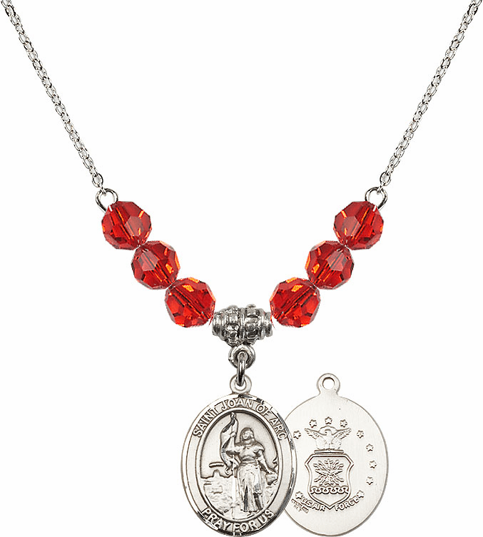 St Joan of Air Force Ruby Swarovski Necklace by Bliss Mfg