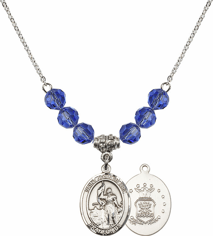 St Joan of Air Force Sapphire Swarovski Necklace by Bliss Mfg