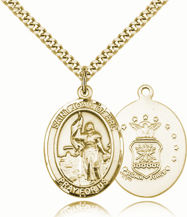 St Joan of Arc Air Force Gold-Filled Oval Saint Pendant Medal by Bliss