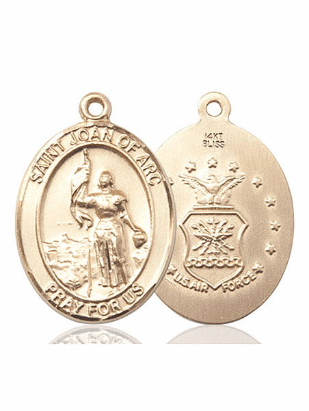 St Joan of Arc Air Force Oval 14kt Gold Saint Pendant Medal by Bliss