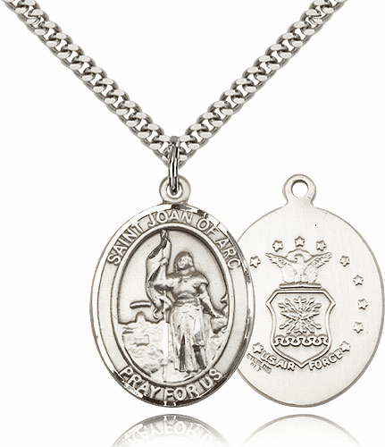St Joan of Arc Air Force Sterling Oval Saint Pendant Medal by Bliss