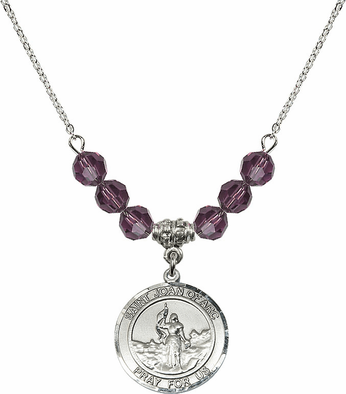St Joan of Arc Amethyst Swarovski Necklace by Bliss Mfg