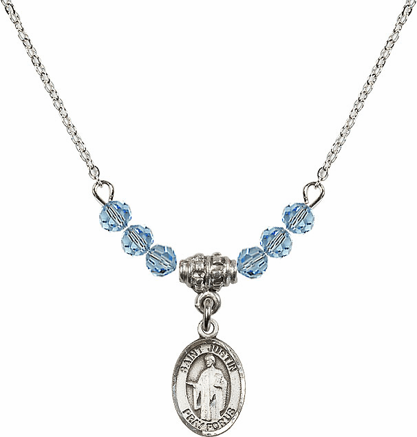 St Joan of Arc Aqua Swarovski Beaded Necklace by Bliss Mfg