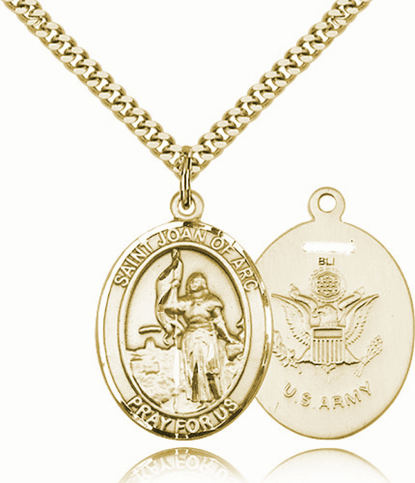 St Joan of Arc Army Gold-Filled Oval Saint Pendant Medal by Bliss