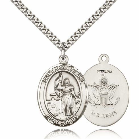 St Joan of Arc Army Sterling Oval Saint Pendant Medal by Bliss