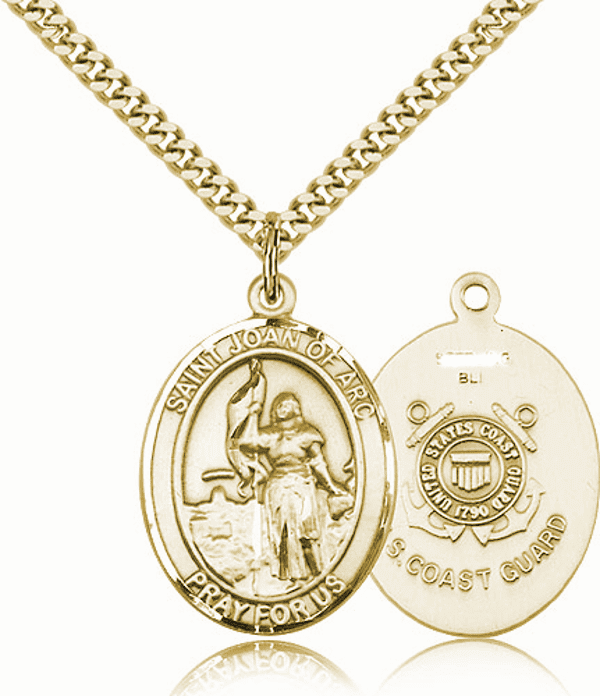 St Joan of Arc Coast Guard Gold-Filled Oval Saint Pendant Medal by Bliss