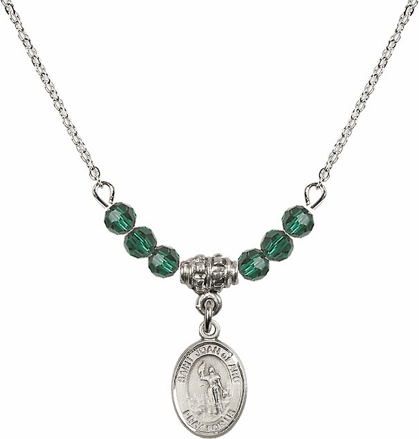 St Joan of Arc Emerald Swarovski Beaded Necklace by Bliss Mfg
