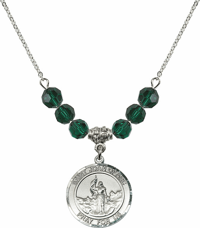 St Joan of Arc Emerald Swarovski Necklace by Bliss Mfg