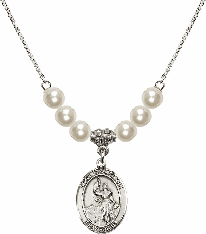 St Joan of Arc Faux Pearl Necklace by Bliss Mfg