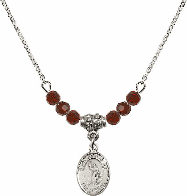 St Joan of Arc Garnet Swarovski Beaded Necklace by Bliss Mfg