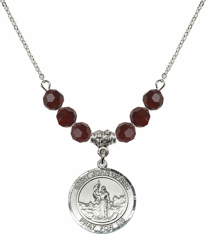St Joan of Arc Garnet Swarovski Necklace by Bliss Mfg
