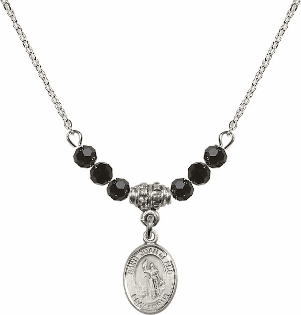 St Joan of Arc Jet Black Swarovski Beaded Necklace by Bliss Mfg