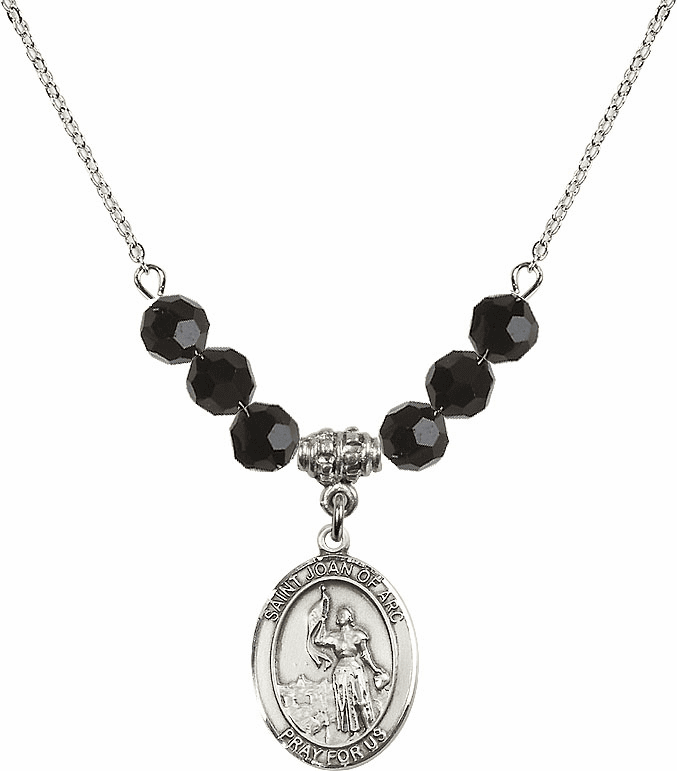St Joan of Arc Jet Black Swarovski Necklace by Bliss Mfg