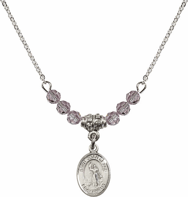 St Joan of Arc Lt Amethyst Swarovski Beaded Necklace by Bliss Mfg
