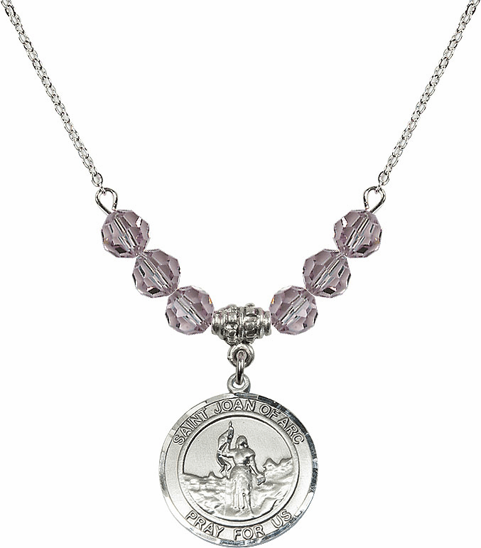 St Joan of Arc Lt Amethyst Swarovski Necklace by Bliss Mfg
