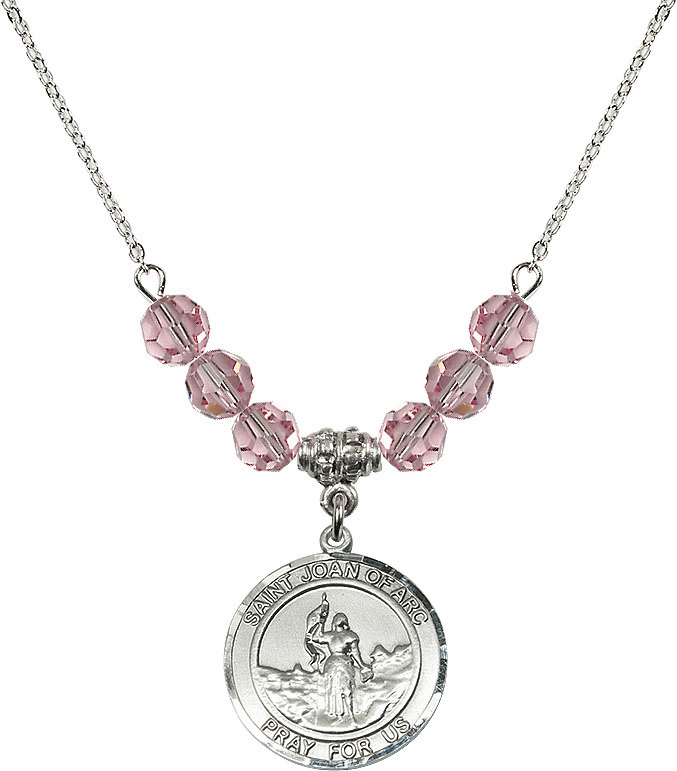 St Joan of Arc Lt Rose Swarovski Necklace by Bliss Mfg