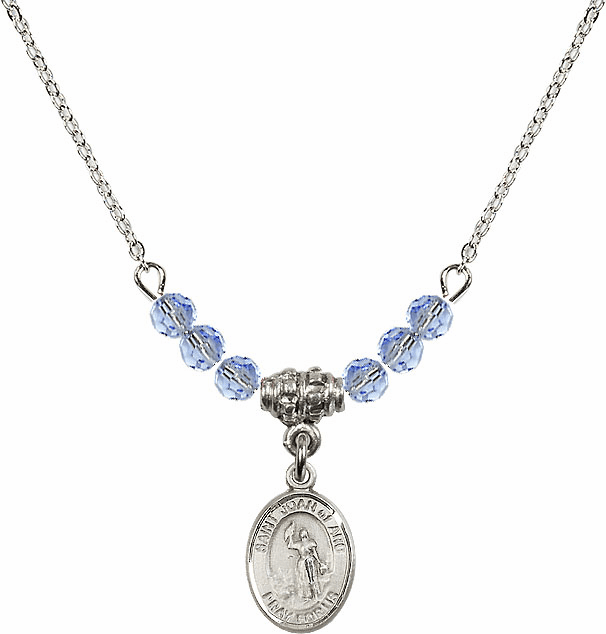 St Joan of Arc Lt Sapphire Swarovski Beaded Necklace by Bliss Mfg