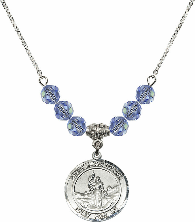 St Joan of Arc Lt Sapphire Swarovski Necklace by Bliss Mfg