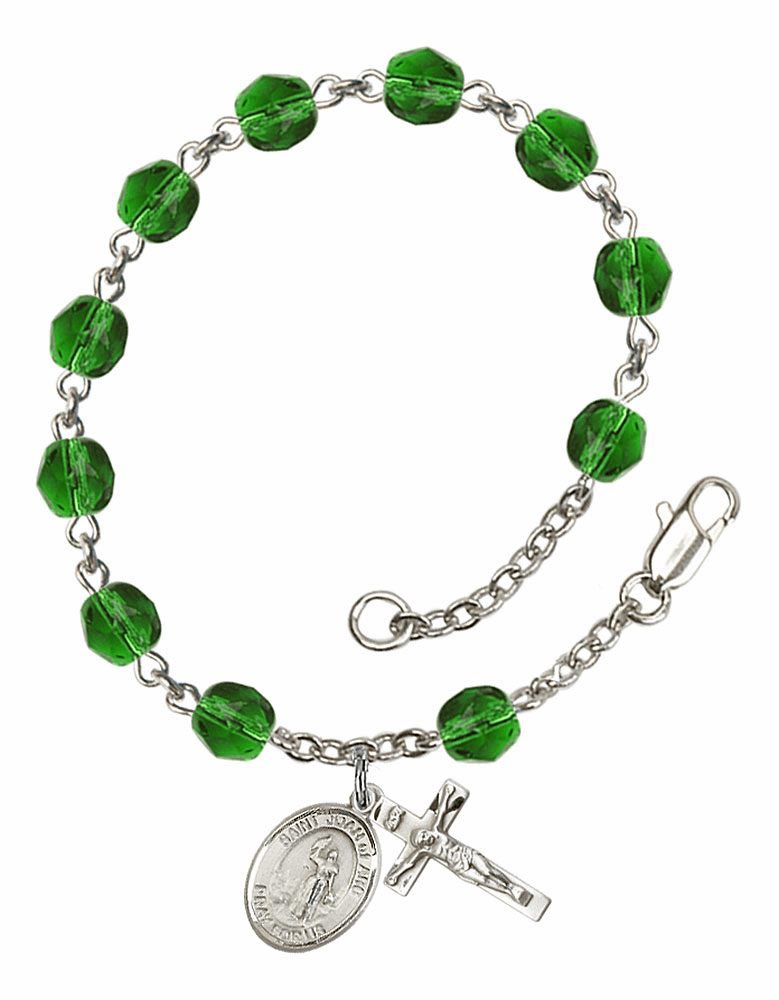 St Joan of Arc May Emerald Birthstone Rosary Bracelet by Bliss