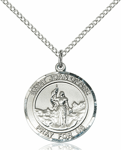 St Joan of Arc Medium Patron Saint Sterling Silver Medal by Bliss