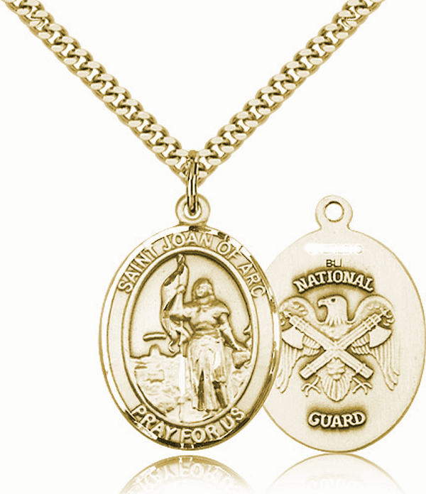 St Joan of Arc National Guard Gold-Filled Oval Saint Pendant Medal by Bliss