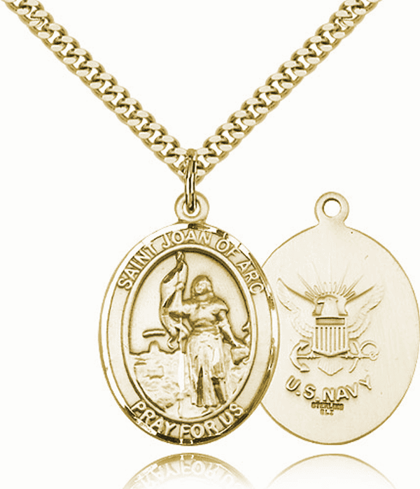 St Joan of Arc Navy Gold-Filled Oval Saint Pendant Medal by Bliss