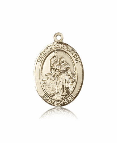 St Joan of Arc Navy Oval 14kt Gold Saint Pendant Medal by Bliss