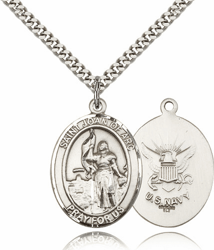 St Joan of Arc Navy Sterling Oval Saint Pendant Medal by Bliss