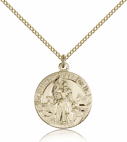 St Joan of Arc Patron Saint Round Medal Necklace by Bliss