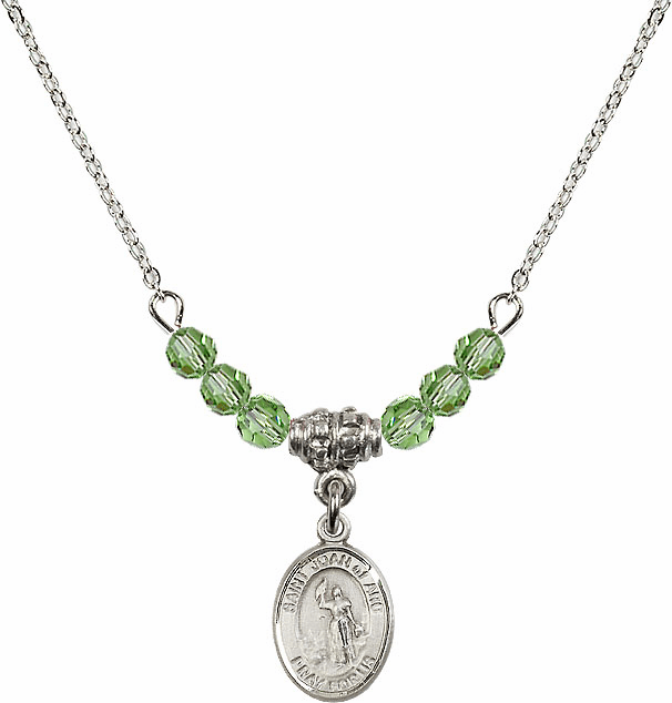 St Joan of Arc Peridot Swarovski Beaded Necklace by Bliss Mfg