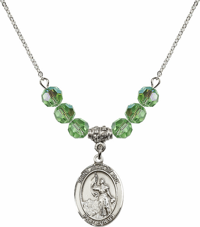 St Joan of Arc Peridot Swarovski Necklace by Bliss Mfg
