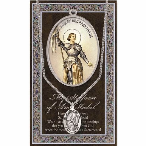 St Joan of Arc Pewter Patron Saint Medal Necklace with Prayer Pamphlet by Hirten