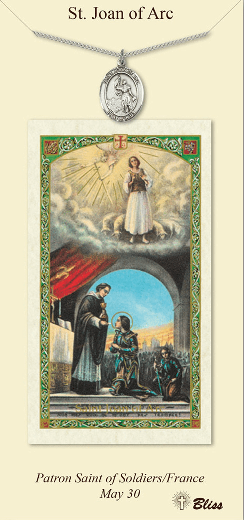 St Joan of Arc Prayer Card & Pendant Gift Set