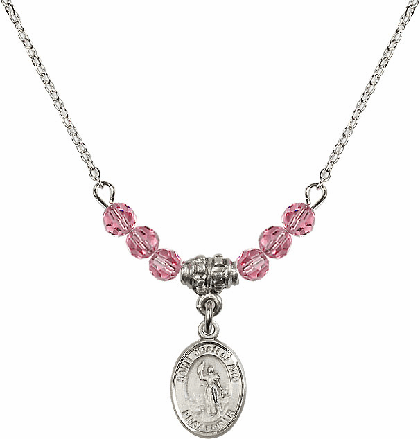 St Joan of Arc Rose Swarovski Beaded Necklace by Bliss Mfg