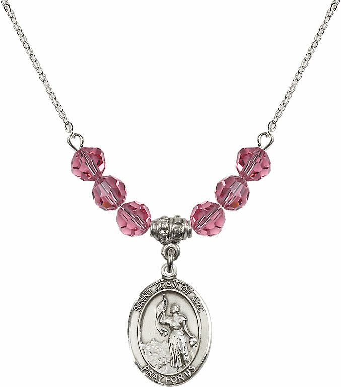 St Joan of Arc Rose Swarovski Necklace by Bliss Mfg