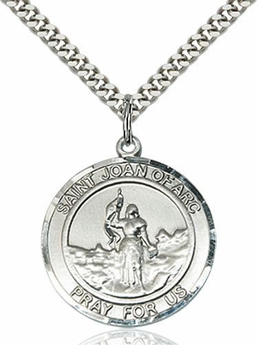 St Joan of Arc Round Patron Saint Medal Necklace by Bliss