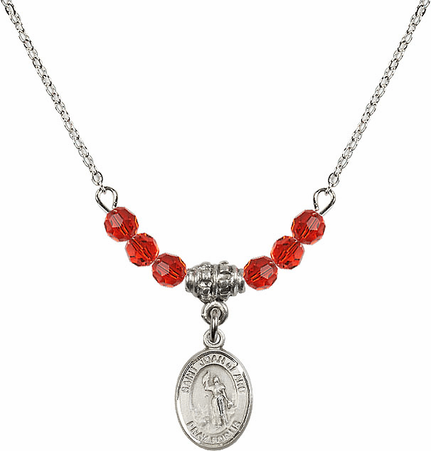 St Joan of Arc Ruby Swarovski Beaded Necklace by Bliss Mfg