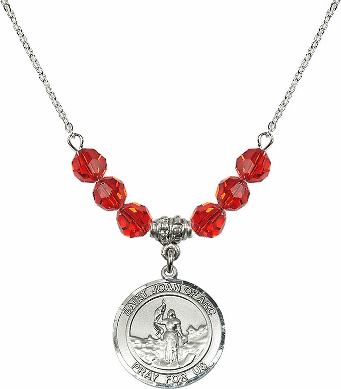 St Joan of Arc Ruby Swarovski Necklace by Bliss Mfg