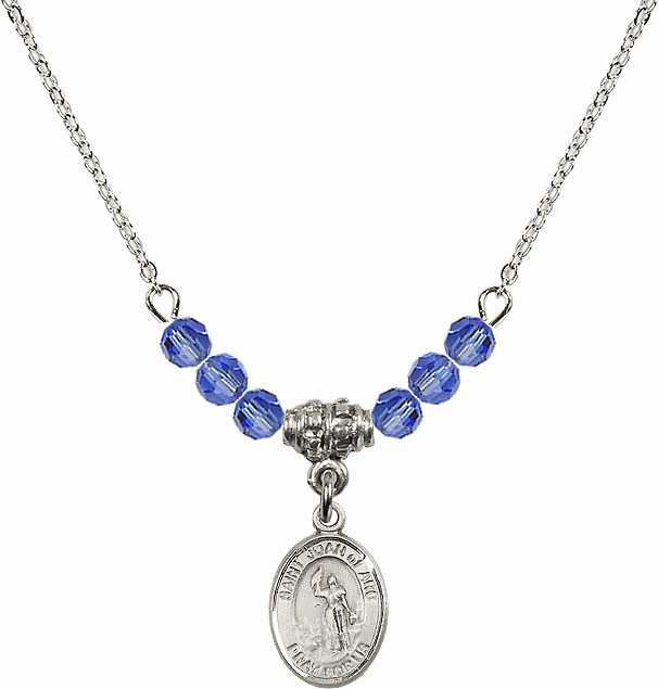 St Joan of Arc Sapphire Swarovski Beaded Necklace by Bliss Mfg