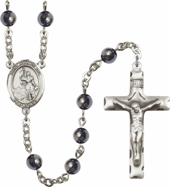 St Joan of Arc 6mm Hematite Gemstone Rosary by Bliss