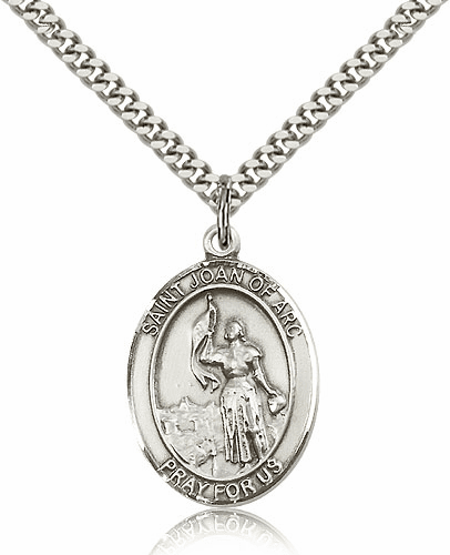 St Joan of Arc Sterling Patron Saint Pendant Necklace by Bliss